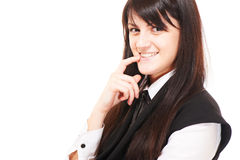 Beautiful european young girl with dark hairs Stock Photography