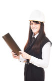 Beautiful european young girl in hard hat Royalty Free Stock Photography