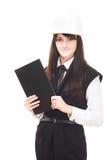 Beautiful european young girl in hard hat Stock Image