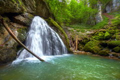 The beautiful Evantai waterfall from Galbenei Gorge Stock Photo