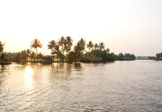 Beautiful evening on the backwaters. Scenic and beautiful landscape shot during evening time , on backwaters of South India royalty free stock photo