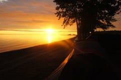 Beautiful evening Baikal at sunset tent holiday. A Peaceful evening at lake Baikal and a beautiful Sunny sunset n Stock Images