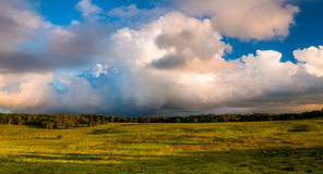 Beautiful evening clouds over Big Meadows in Shenandoah National Park Royalty Free Stock Image