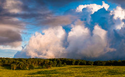 Beautiful evening clouds over Big Meadows in Shenandoah National Park Royalty Free Stock Photo
