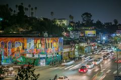 Beautiful evening at Echo Park, Los Angeles royalty free stock image