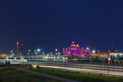 Beautiful evening illumination entertainment Sochi Park, hotel Stock Photography