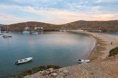 Beautiful evening in Kolona double bay Kythnos island Cyclades Greece. Travel destinations September 2018. Horizontal royalty free stock photos