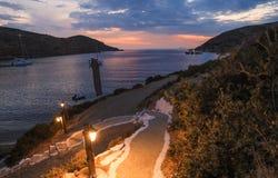 Beautiful evening in Kolona double bay Kythnos island, Cyclades, Greece. Travel destinations September 2018. Horizontal royalty free stock image