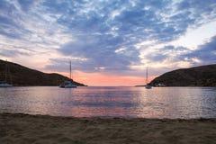Beautiful evening in Kolona double bay Kythnos island, Cyclades, Greece. Travel destinations September 2018. Horizontal royalty free stock photo