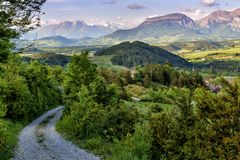 Evening in the French Alps. Beautiful evening landscape in the French Alps Royalty Free Stock Photography