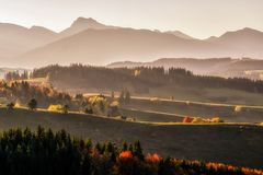 Beautiful evening light over mountains Royalty Free Stock Images