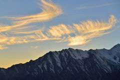 Beautiful evening light on top of mountain Stock Photography