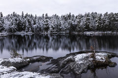 Beautiful evening next to lake at early winter Royalty Free Stock Photo