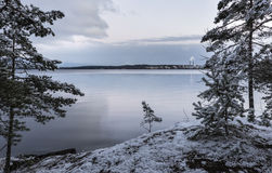 Beautiful evening next to lake at early winter Royalty Free Stock Images