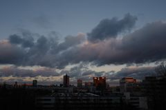 Beautiful evening November sky in Moscow royalty free stock photo
