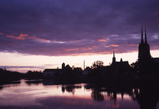Beautiful evening over Oder river. In Wroclaw, Poland Stock Photo