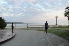 Beautiful,evening promenade in Abkhazia royalty free stock photography