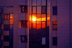 Reflection of twilight in window glass royalty free stock photos