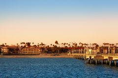 Beautiful evening scenery of Long Beach coastline Royalty Free Stock Photos