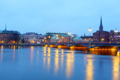 Beautiful evening scenic panorama of the Old Town Gamla Stan p Royalty Free Stock Photo