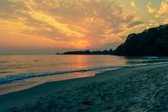 A beautiful evening sea landscape detail art stock photography