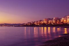 Beautiful evening at the seaside. Athens, Greece. Purple toning photo royalty free stock image