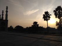 Beautiful evening in Sikandra Agra. Picture of sunset with sikandra piller Stock Photography