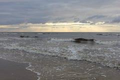 Beautiful evening sky in Latvia on the beach on the sea. Beautiful sunset sky in Latvia on the beach Stock Photos