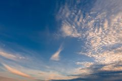 Beautiful evening sky over horizon, sunset. Majestic heaven at beautiful evening. Beautiful evening sky over horizon, sunset royalty free stock images