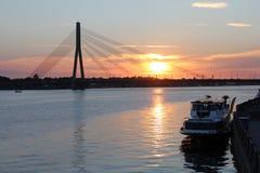 Beautiful evening sky in Riga in Latvia. Beautiful sunset sky in Riga in Latvia Royalty Free Stock Photo