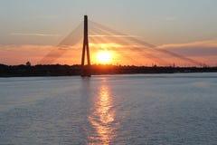 Beautiful evening sky in Riga in Latvia. Beautiful sunset sky in Riga in Latvia Royalty Free Stock Photography