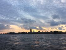 Sunset in St. Petersburg royalty free stock photo