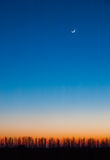 Beautiful evening sky waxing crescent. On a multicolor gradient background idyllic landscape Royalty Free Stock Photography