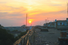 Beautiful evening spent on the roof Royalty Free Stock Photography