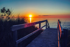 Free Beautiful Evening Sunset Landscape At Canadian Ontario Lake Huron In Pinery Park, Orange Blue Red Sky Sun Royalty Free Stock Images - 75322639