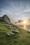 Beautiful evening sunset landscape image of Valley of The Rocks royalty free stock photography