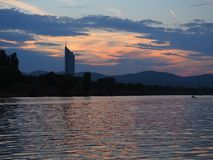 Beautiful evening sunset with river photo in Vienna royalty free stock photography