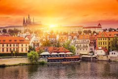 Beautiful evening sunset scenery Of the Old Towמ in Prague, Cze. Ch Republic Stock Photography