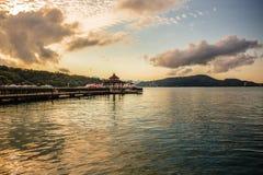 Sun moon lake. A beautiful evening view from the Ita Thao pier, Sun Moon Lake, Taiwan stock image