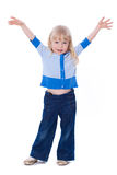 Beautiful excited little girl hold hands up happy isolated on a Stock Image