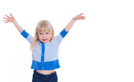 Beautiful excited little girl hold hands up happy isolated on a Stock Images