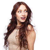 Beautiful excited woman Stock Images