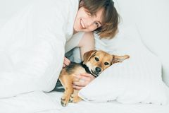 Beautiful excited young woman and her cute cur dog are fool around, looking at camera while lying covered with a blanket in bed. royalty free stock images