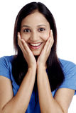 Beautiful excited young woman Royalty Free Stock Photos
