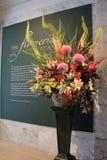 Beautiful exhibit of botanical flowers, set on table of Cleveland Art Museum, Ohio, 2016 Stock Photo