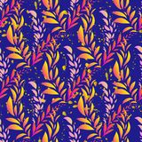 Beautiful exotic abstract allover design. Palm leaves of different shapes in vibrant, neon colors. on dark background, for fashion royalty free illustration