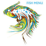 Beautiful exotic and artistic fish. Full of colors on white background Stock Photo