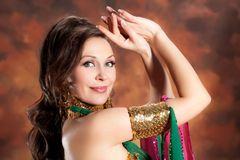 Beautiful exotic belly dancer woman Royalty Free Stock Images