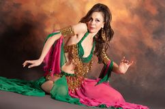 Beautiful exotic belly dancer woman Stock Photos