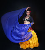 Beautiful exotic belly tribal dancer with blue shawl woman Stock Photo